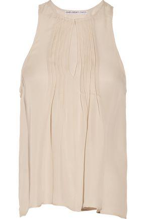 CHELSEA FLOWER Camilla pintucked silk top