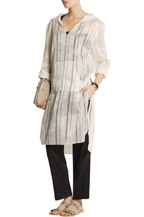 BAJA EAST Hooded linen and silk-blend tunic