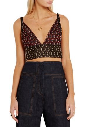MARNI Cropped metallic jacquard top