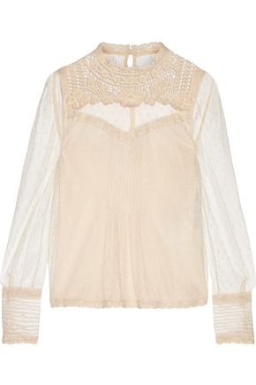 REDValentino Embroidered lace-trimmed point d'esprit tulle top
