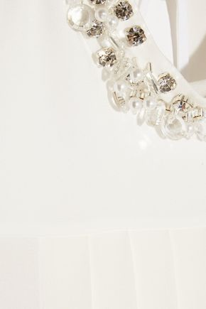 MIU MIU Crystal-embellished pleated crepe top