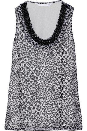 DIANE VON FURSTENBERG Ade embellished printed silk-chiffon top