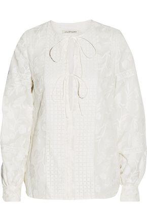 JILL STUART Miranda embroidered silk-organza top
