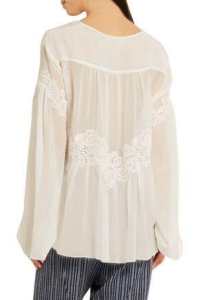 CHLOÉ Lace-appliquéd cotton and silk-blend crépon blouse
