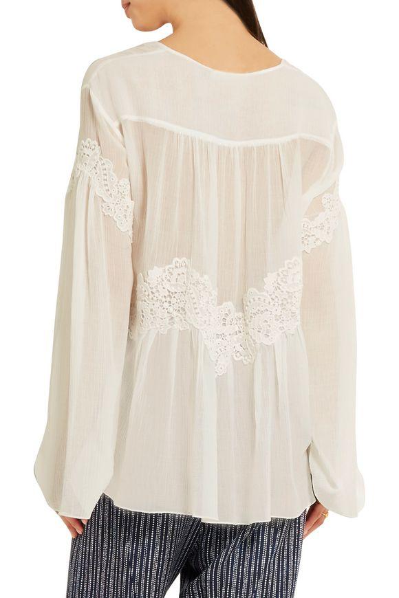 Lace-appliquéd cotton and silk-blend crépon blouse | CHLOÉ | Sale up to 70%  off | THE OUTNET