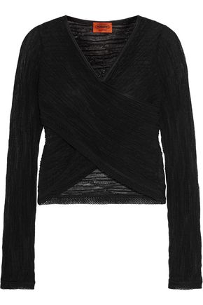 MISSONI Wrap-effect crochet-knit cotton-blend top