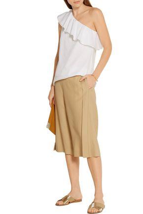 THEORY Damarill one-shoulder cotton-poplin top