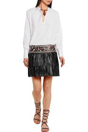 VALENTINO Embellished cotton-poplin blouse
