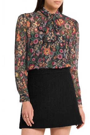 REDValentino Pussy-bow printed crinkled silk-georgette blouse