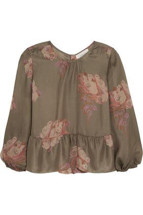 THE GREAT. Ruffled floral-print silk crepe de chine top