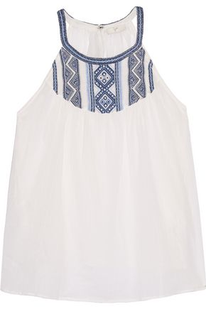 JOIE Landry embroidered cotton-gauze top