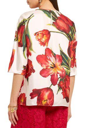 DOLCE & GABBANA Floral-print silk-twill blouse