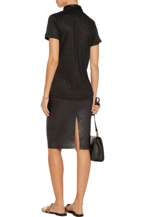 VINCE. Leather-trimmed linen top