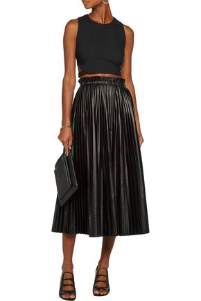 MARISSA WEBB Cropped paneled lace and crepe top