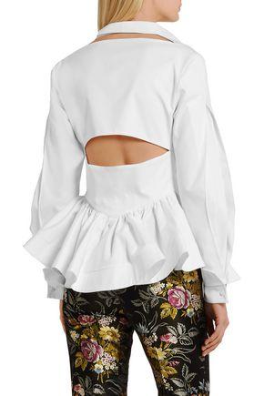 ANTONIO BERARDI Cutout cotton-twill peplum shirt