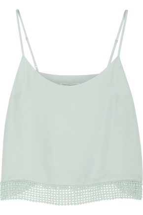 REBECCA MINKOFF Equinox crochet-trimmed silk-chiffon top