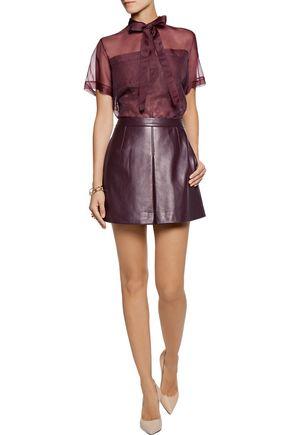 VALENTINO Silk organza-paneled lace blouse