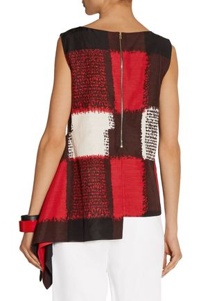 MARNI Asymmetric printed woven top