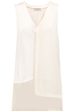 HALSTON HERITAGE Asymmetric jersey and crepe top