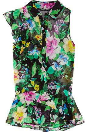 MARISSA WEBB Johan ruffled floral-print silk-georgette top