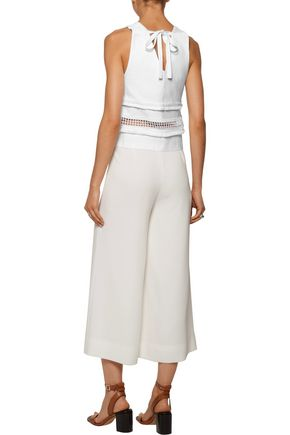 MARISSA WEBB Marvin guipure lace-trimmed stretch-cady top