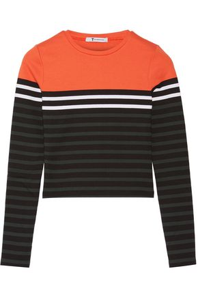 T by ALEXANDER WANG Striped stretch-cotton jersey top