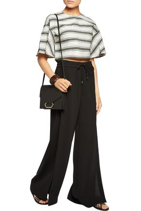 TIBI Ariel striped cotton and linen-blend top