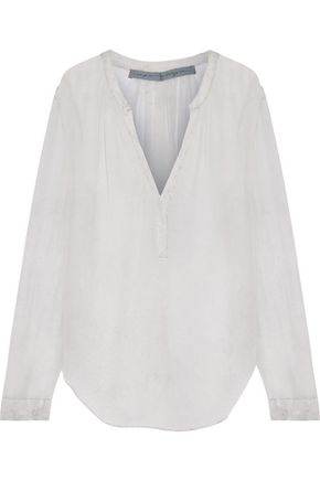 RAQUEL ALLEGRA Printed textured silk-georgette top