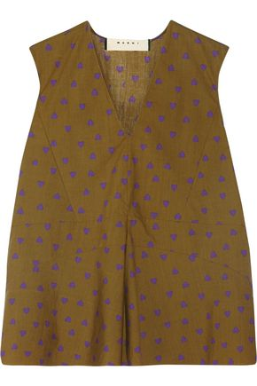 MARNI Heart-print cotton top