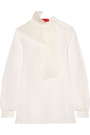 RONALD VAN DER KEMP Pleated organza-paneled silk blouse