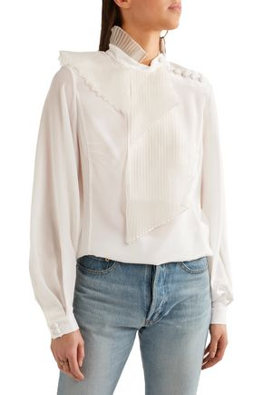 RONALD VAN DER KEMP Pleated organza-paneled silk blouse