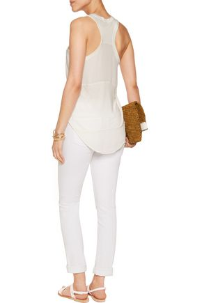 HAUTE HIPPIE Modal and stretch-jersey paneled tank