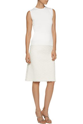 OSCAR DE LA RENTA Wool, silk and cashmere-blend tank