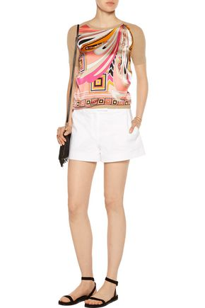 EMILIO PUCCI Stretch silk-paneled wool and cotton-blend top