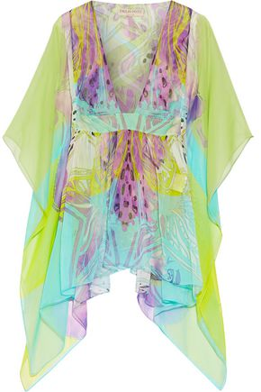 EMILIO PUCCI Ruffled printed silk-chiffon top