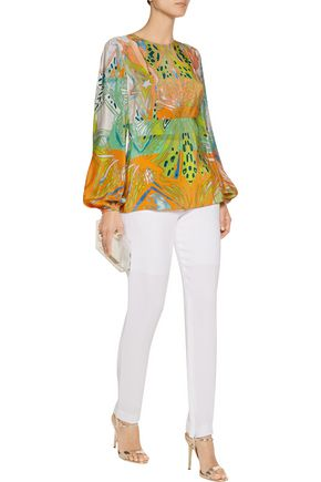 EMILIO PUCCI Cutout printed silk blouse