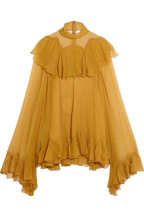 CHLOÉ Ruffled silk-crepon turtleneck blouse