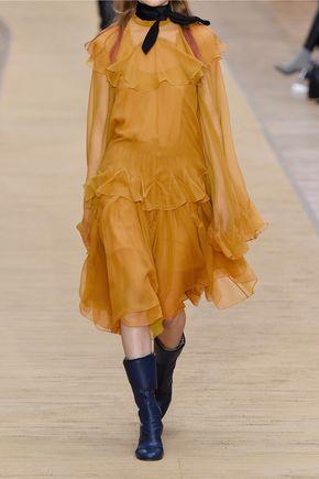 CHLOÉ Ruffled silk-crepon turtleneck blouse