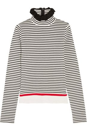 MSGM Ruffle-trimmed striped stretch cotton-blend top