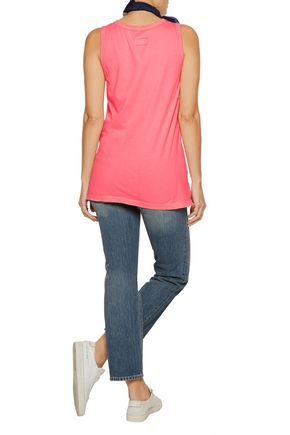 CURRENT/ELLIOTT The Muscle Tee  distressed printed cotton-jersey tank