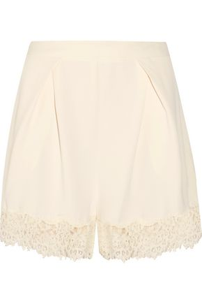 WOMAN LACE-TRIMMED CREPE SHORTS IVORY