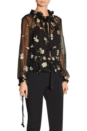 CHLOÉ Embroidered silk-chiffon blouse