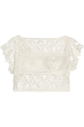 MIGUELINA Eloise cropped lace top