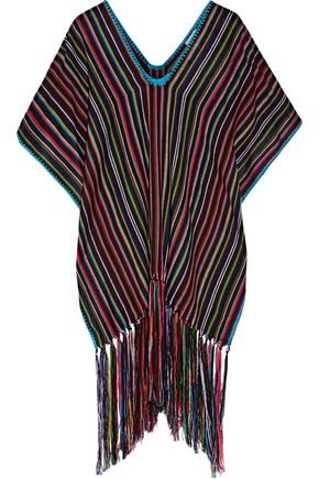 MIGUELINA Livia fringed woven poncho