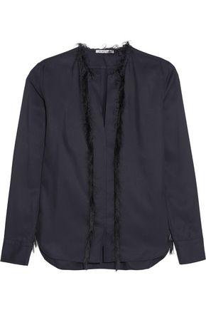 HELMUT LANG Fringed silk-twill shirt
