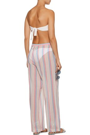SOLID & STRIPED Striped cotton-gauze wide-leg pants