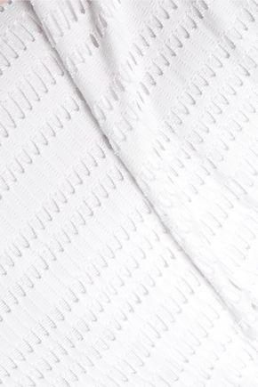 T by ALEXANDER WANG Laser-cut cotton-blend jersey top