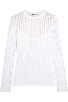 T by ALEXANDER WANG Laser-cut cotton-blend jersey top