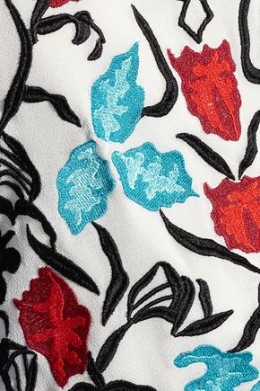 ALICE + OLIVIA Trish embroidered georgette top