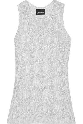 JUST CAVALLI Metallic open-knit cotton top